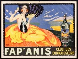 "2206 - DELVAL (FRENCH), POSTER, 1930, H 47"", W 62"", 'FAP ANIS'"