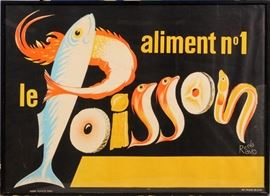 "2208 - RENE RAVO (FRENCH, 1904-1998), POSTER, C.1955, H 44"", W 60"", 'LE POISSON'"