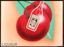 "2207 - FRENCH POSTER, EARLY TO MID-20TH C., H 47"", W 65"", 'CHERRY ROCHER'"