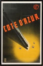 "2210 - MUNETSUGO SATOMI (JAPANESE, 1900-1995), POSTER, 1934, H 38"", W 24"", 'COTE D'AZUR'"