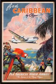 "2211 - PAN AM ORIGINAL POSTER, C.1940, H 39"", W 25"", 'PAN AMER WORLD AIRWAYS - CARIBBEAN'"