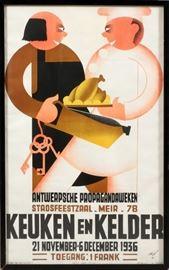 """2214 - DUTCH POSTER, 1936, H 38"""", W 23"""", 'KEUKEN EN KELDER'"""
