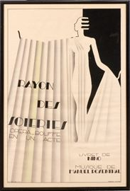 "2217 - MAURICE DUFRENE (FRENCH, 1876-1955), POSTER, 1930, H 46"", W 31"", 'RAYON DES SOIERIES'"