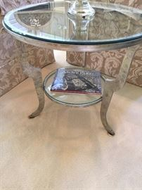 "Jeffeco 32"" round glass top side table"