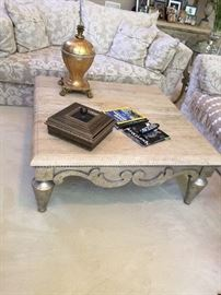 "Henredon Marble top coffee table 58""x39""x22"""