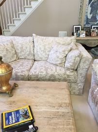 "Pair of Henredon upgraded fabric sofas with down cushions. 90""x42""x32"""