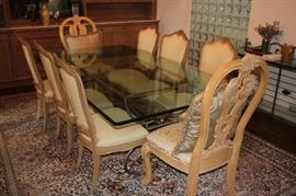 Glass Top Dining Room Table with 8 French Style Chairs