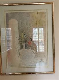 Original Paper Cast Art work  by  Hoi Lebadang (Vietnamese, 1922-2015). Presented in a metal frame double matted. Signed lower right.  Lebadang was a personal friend of the family and some items are personally signed to family. Lebadang was born in Vietnam and emigrated to France in 1939 to study at the Ecole des Beaux-Arts in Toulouse. He had his first one-man show in Paris in 1950 and over the next thirty years gained prominence throughout France and Germany. He came to the attention of Americans in 1966 when the Cincinnati Art Museum hosted the first one-man exhibition of his paintings in the United States.