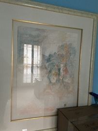 """Original Paper Cast Art work """"Mirage""""  by  Hoi Lebadang (Vietnamese, 1922-2015). Presented in a metal frame double matted. Signed lower right.  Lebadang was a personal friend of the family  Lebadang was born in Vietnam and emigrated to France in 1939 to study at the Ecole des Beaux-Arts in Toulouse. He had his first one-man show in Paris in 1950 and over the next thirty years gained prominence throughout France and Germany. He came to the attention of Americans in 1966 when the Cincinnati Art Museum hosted the first one-man exhibition of his paintings in the United States."""