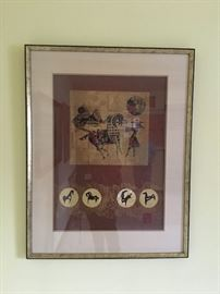 Gold Horses 1 in Gold Leaf  by  Hoi Lebadang (Vietnamese, 1922-2015). Presented in a wood frame double matted. Signed lower right.  Lebadang was a personal friend of the family and some items are personally signed to family. Lebadang was born in Vietnam and emigrated to France in 1939 to study at the Ecole des Beaux-Arts in Toulouse. He had his first one-man show in Paris in 1950 and over the next thirty years gained prominence throughout France and Germany. He came to the attention of Americans in 1966 when the Cincinnati Art Museum hosted the first one-man exhibition of his paintings in the United States.