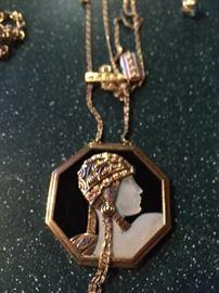 "Erte ""Adventurine State"""" Pendant Necklace in 14K yellow gold"