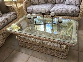 Glass top coffee table Made in AMERICA wicker inside and out. Coastal Living Vibes $60