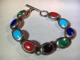 Sterling, Malachite, Turquoise, Lapis, Onyx Bracelet