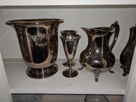 Silver Plated Pitcher, Goblets, wine chiller