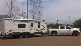Another view of 2013 Trailer camper with Awning.