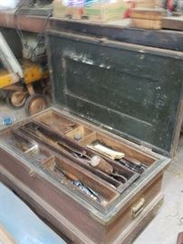 Vintage tools chest loaded with antique and vintage tools dating from early 1900's . Collector tools