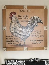 Very Large Rooster Print of Canvas.