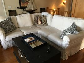 Pottery Barn Sofa and Chest.  The Sofa has washable slip covers.  Sofa $225
