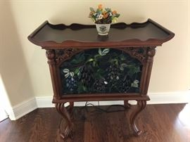 Side table with lighted Stained glass frnt