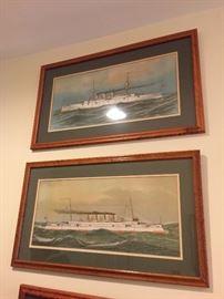 19thC Chromo Lithos in Maple Frames