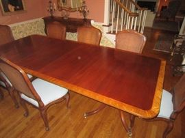 Baker Furniture Dining Table, Historic Charleston Reproduction. With 3 leaves and pads