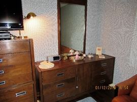 Pair of Dressers by American of Martinsville, Tall boy and Matching dresser with Mirror