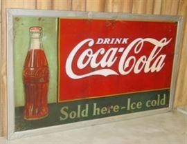 "1938 Metal Drink Coca-Cola Sign - 32"" x 56"""