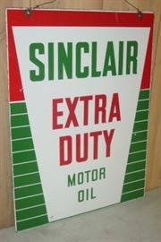 """1940's - 1950's Porcelain Double Sided Sinclair Motor Oil Sign - 18"""" x 24"""""""
