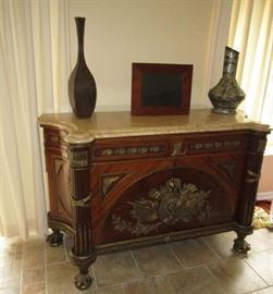 LARGE MARBLE TOP INLAY ORMALU DECORATED CABINET