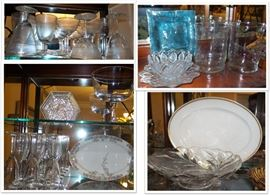 China, crystal, stemware, art glass, cut glass, vases, etc.