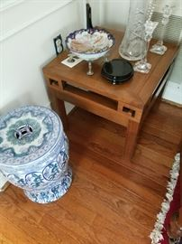 Asian garden stool and side table