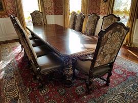 Segovia Rectangular Dining Table. 5 feet wide, 9 feet long.