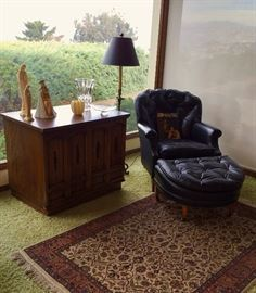 Ralph Morse Leather Chair And Ottoman