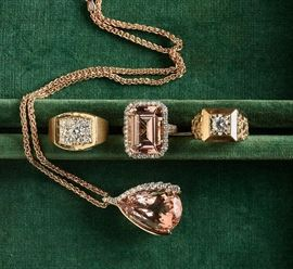 Peach color fabulous Morganite and diamond ring and perdant in 14k rose gold mounts, rose gold chain, two 14k and diamond men's rings