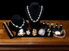 Brooches and necklaces include tiger eye, cameo, emerald rings, large pocket watch, 14 and 18k bracelets, sterling beads and more.