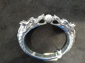 John Hardy dragon bracelet is rare with TWO dragons and the diamond ball. Sterling and priced far below retail.