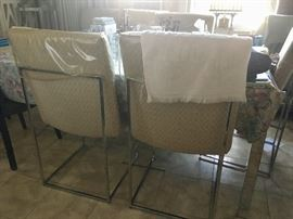Chrome & glass mid-century dining room set with six chairs