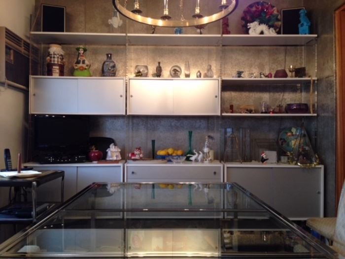 Mid-century wall unit with cabinets & shelving . Chrome & glass