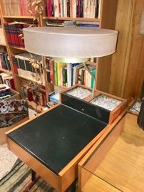 Amazing Herman Miller leather top end table with attached lamp & planter