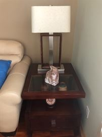 Wood/glass end tables