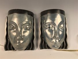 Great Deco style Mask Sconces