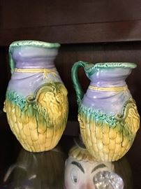 Rare 2 Size Pair Adams & Bromley Majolica Pitchers