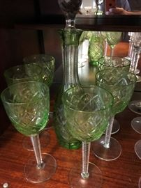 Green Bohemian Glass Decanter and Glass Set