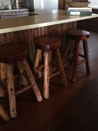 Pine log bar stools