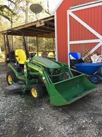 John Deere mower with bucket