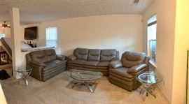 Real Leather Sofa, Love Seat and Chair $800 obo