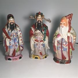 "Ceramic Asian Figurines 6"" Tall"
