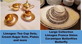 Limoges plates and tea cups.  Limoges France Union Ceramique UC Butterfly china - huge set