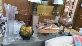 retro vintage glass.  Copper servers. mid-century lamps