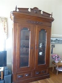 ANTIQUE VICTORIAN WALNUT BOOKCASE (DISPLAY CABINET) - TWO TALL LOCKING GLASS FRONT DOORS AND BOTTOM DRAWERS